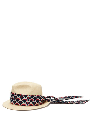 Valentino - Logo Print Band Straw Hat - Womens - Blue