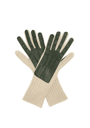 Burberry - Leather Panelled Cashmere Gloves - Mens - Green