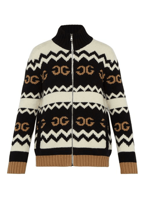 Gucci - Zip Through Gg Jacquard Wool Cardigan - Mens - Black Multi
