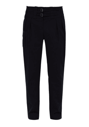 Dolce & Gabbana - High Waisted Stretch Cotton Twill Trousers - Mens - Navy