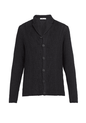 Inis Meáin - Cable Knit Linen And Cotton Blend Cardigan - Mens - Navy Multi
