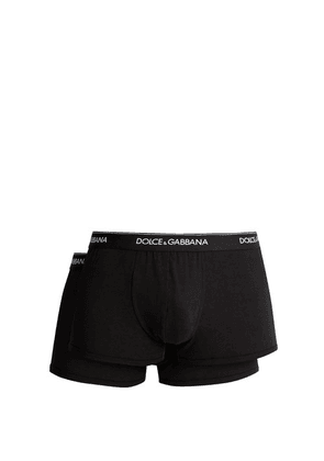 Dolce & Gabbana - Set Of Two Logo Embroidered Boxer Trunks - Mens - Black