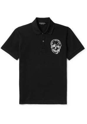 Alexander McQueen - Slim-fit Embroidered Cotton-piqué  Polo Shirt - Black