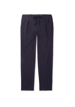 Camoshita - Navy Tapered Pleated Washed-cotton Drawstring Trousers - Navy