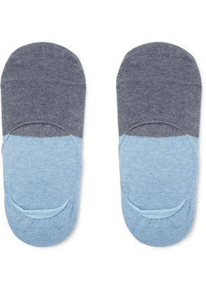 Anonymous Ism - Two-tone No-show Cotton-blend Socks - Blue