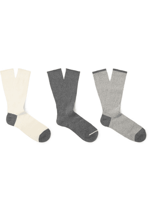 Anonymous Ism - Three-pack Cotton-blend Socks - Gray