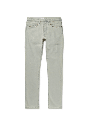Valentino - Slim-fit Studded Distressed Denim Jeans - Light denim