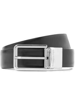 Ermenegildo Zegna - 3cm Black And Dark-brown Reversible Leather Belt - Black