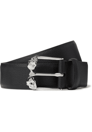 Alexander McQueen - 3cm Black Textured-leather Belt - Black