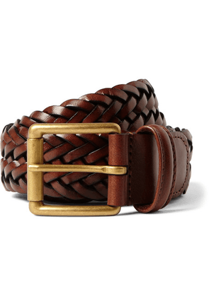 Anderson's - 3.5cm Brown Woven Leather Belt - Brown