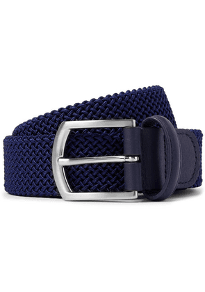 Anderson's - 3.5cm Navy Leather-trimmed Woven Elastic Belt - Navy