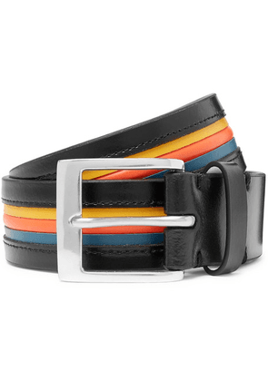 Paul Smith - 3.5cm Striped Leather Belt - Black