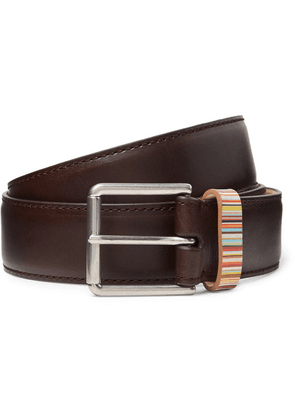 Paul Smith - 4cm Dark-brown Stripe-trimmed Leather Belt - Brown