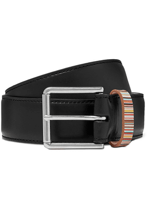 Paul Smith - 4cm Black Stripe-trimmed Leather Belt - Black