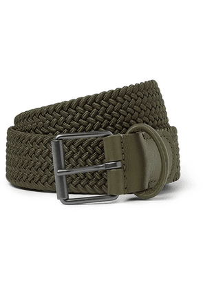 Anderson's - 3.5cm Green Leather-trimmed Woven Elastic Belt - Green