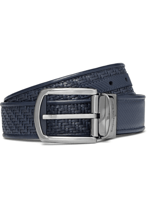 Ermenegildo Zegna - 3.5cm Blue Reversible Pelle Tessuta Leather Belt - Blue