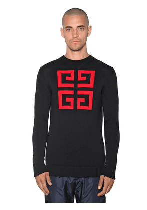 4g Logo Intarsia Cotton Crewneck Sweater