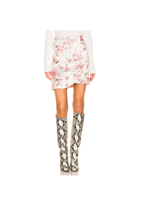 ALEXACHUNG Ruffle Mini Skirt in Floral,Pink,Whit