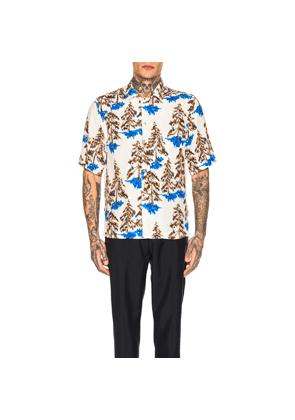 Acne Studios Simon Pine Flu Shirt in Abstract,Blue,Brown,White