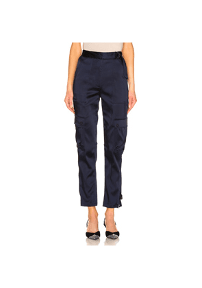 JONATHAN SIMKHAI Structured Sateen Utility Pant in Blue