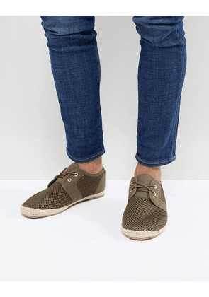 Brave Soul Lace Up Espadrilles In Khaki Mesh