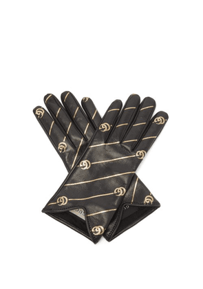 Gucci - Printed Leather Gloves - Womens - Black