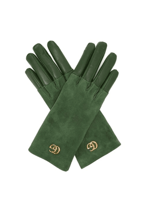 Gucci - Gg Plaque Suede And Leather Gloves - Womens - Green
