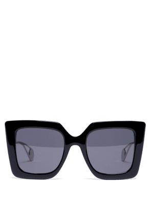 Gucci - Square Frame Acetate And Metal Sunglasses - Womens - Black