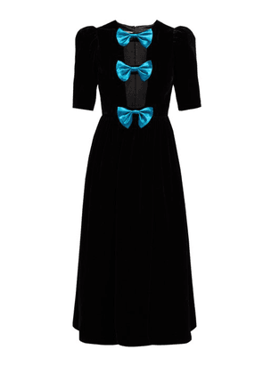 Gucci - Bow Embellished Velvet Gown - Womens - Black Blue