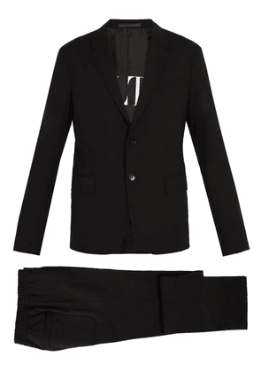 Valentino - Single Breasted Wool Blend Suit - Mens - Black