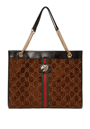 Gucci - Rajah Gg Velvet And Leather Tote Bag - Womens - Brown Multi