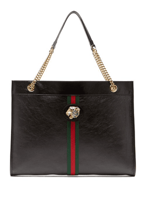 Gucci - Rajah Web Striped Leather Tote Bag - Womens - Black Multi