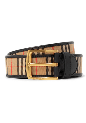 Burberry - 3.5cm Tan Leather-trimmed Checked Twill Belt - Tan