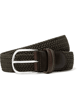 Anderson's - 3.5cm Green Leather-trimmed Woven Elastic Belt - Dark green