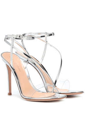 Plexi and metallic leather sandals