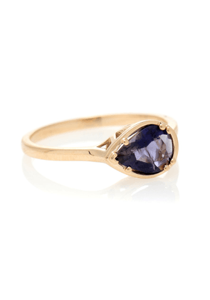 Petite Pear Luna 14kt gold and iolite ring