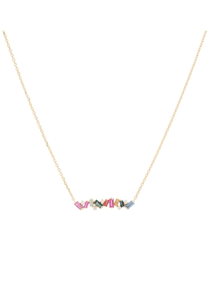 18kt gold with diamond and rainbow sapphire necklace
