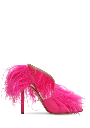 110mm Slingback Sandals W/ Feathers