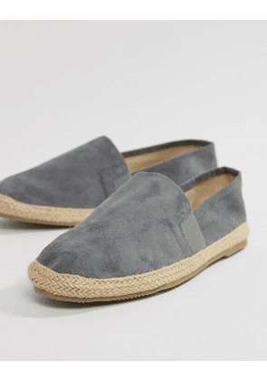 Brave Soul Wide Fit Faux Suede Espadrilles In Grey