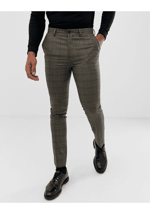 New Look skinny smart trousers in brown check