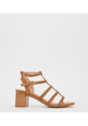 New Look Wide Fit plaited block heeled sandals in tan