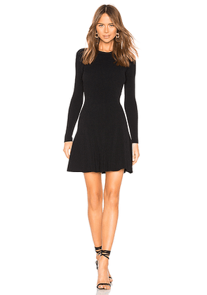 Autumn Cashmere Flare Ribbed Stitch Dress in Black. Size XS.