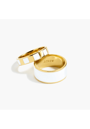 Striped and solid enamel ring set