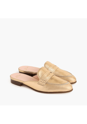 Academy penny-loafer mules in metallic leather