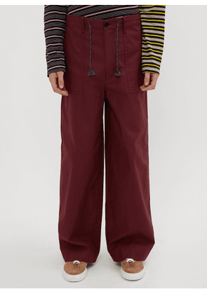 Marni Flared Twill Pants in Burgundy size EU - 48