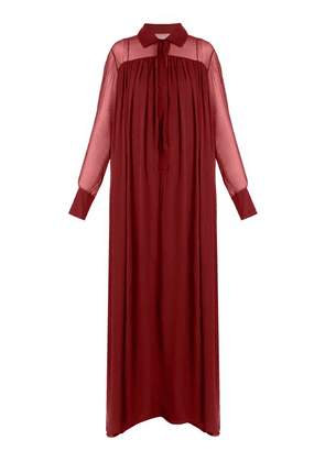 By. Bonnie Young - Long Sleeved Silk Chiffon Gown - Womens - Burgundy