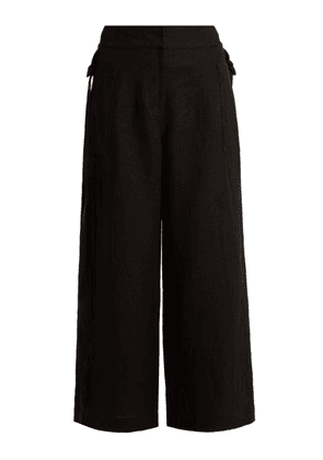 Loewe - High Rise Wide Leg Cropped Linen Trousers - Womens - Black