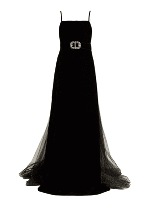 Gucci - Crystal Embellished Velvet Gown - Womens - Black