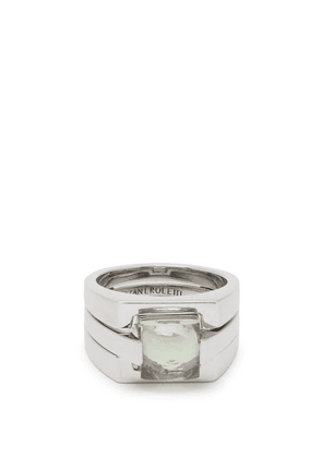 Alan Crocetti - Puzzle Silver And Green Amethyst Ring - Mens - Silver