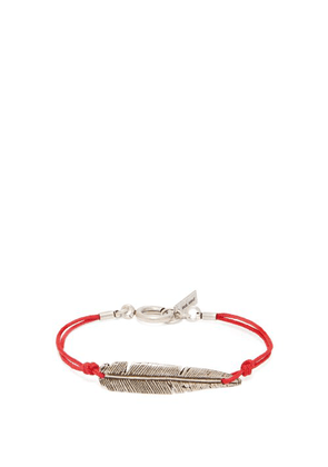 Isabel Marant - Feather Charm Fabric Bracelet - Mens - Red Silver